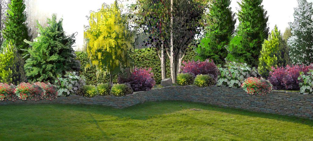 Ogród ogrodzony nie wielkim murkiem z piaskowca.